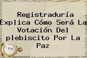 Registraduría Explica Cómo Será La Votación Del <b>plebiscito</b> Por La Paz