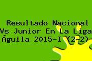 Resultado <b>Nacional Vs Junior</b> En La Liga Águila 2015-I (2-2)
