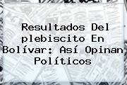 <b>Resultados</b> Del <b>plebiscito</b> En Bolívar: Así Opinan Políticos