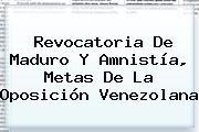 Revocatoria De <b>Maduro</b> Y Amnistía, Metas De La Oposición Venezolana
