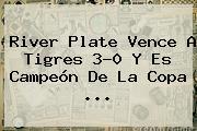 <b>River Plate</b> Vence A Tigres 3-0 Y Es Campeón De La Copa <b>...</b>