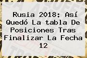 <b>Rusia 2018</b>: Así Quedó La Tabla De <b>posiciones</b> Tras Finalizar La Fecha 12