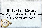 <b>Salario Mínimo 2016</b>: Entre Críticas Y Expectativas