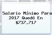 Salario Mínimo Para <b>2017</b> Quedó En $737.717