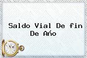 Saldo Vial De <b>fin De Año</b>