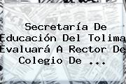 <b>Secretaría De Educación</b> Del Tolima Evaluará A Rector De Colegio De <b>...</b>