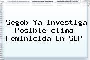 Segob Ya Investiga Posible <b>clima</b> Feminicida En <b>SLP</b>