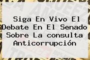 Siga En Vivo El Debate En El Senado Sobre La <b>consulta Anticorrupción</b>
