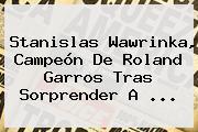 Stanislas <b>Wawrinka</b>, Campeón De Roland Garros Tras Sorprender A <b>...</b>
