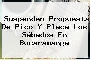 Suspenden Propuesta De <b>Pico Y Placa</b> Los Sábados En <b>Bucaramanga</b>