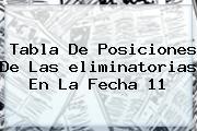 <b>Tabla De Posiciones</b> De Las <b>eliminatorias</b> En La Fecha 11