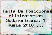 <b>Tabla</b> De Posiciones <b>eliminatorias Sudamericanas</b> A Rusia 2018 ...