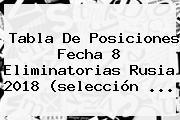 <b>Tabla De Posiciones</b> Fecha 8 <b>Eliminatorias Rusia 2018</b> (selección ...
