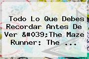 Todo Lo Que Debes Recordar Antes De Ver &#039;The <b>Maze Runner</b>: The ...