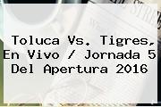 <b>Toluca Vs</b>. <b>Tigres</b>, En Vivo / Jornada 5 Del Apertura 2016