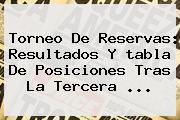 Torneo De Reservas: Resultados Y <b>tabla De Posiciones</b> Tras La Tercera <b>...</b>