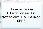 Transcurren Elecciones En Veracruz En Calma: <b>OPLE</b>