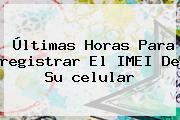 Últimas Horas Para <b>registrar</b> El IMEI De Su <b>celular</b>