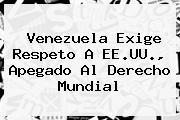 <b>Venezuela</b> Exige Respeto A EE.UU., Apegado Al Derecho Mundial