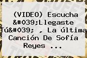 (VIDEO) Escucha &#039;Llegaste Tú&#039; , La última Canción De <b>Sofía</b> Reyes ...