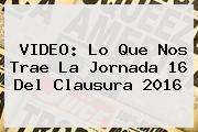 VIDEO: Lo Que Nos Trae La <b>Jornada 16</b> Del Clausura <b>2016</b>