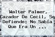 <b>Walter Palmer</b>, Cazador De Cecil, Se Defiende: No Sabía Que Era Un <b>...</b>