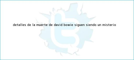 trinos de Detalles de la muerte de <b>David Bowie</b> siguen siendo un misterio