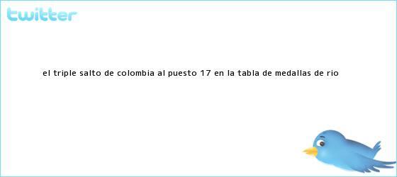 trinos de El triple salto de <b>Colombia</b> al puesto 17 en la tabla de <b>medallas</b> de Río