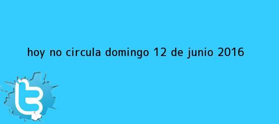 trinos de <b>Hoy No Circula</b> Domingo <b>12 de Junio 2016</b>
