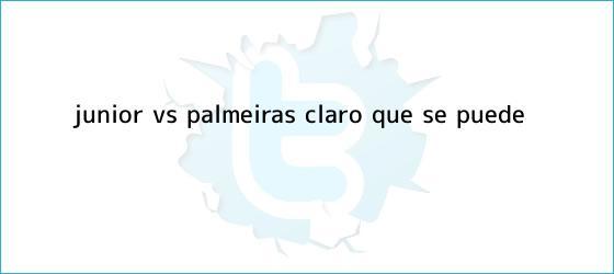 trinos de <b>Junior vs Palmeiras</b>: ¡Claro que se puede!