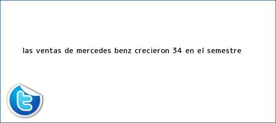 trinos de <b>Las ventas de Mercedes Benz crecieron 34% en el semestre</b>
