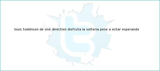 trinos de <b>Louis Tomlinson</b>, de One Direction, disfruta la soltería pese a estar esperando <b>...</b>