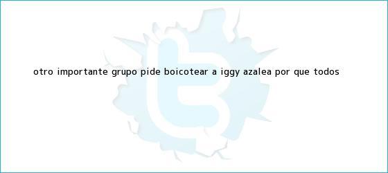 trinos de Otro importante grupo pide boicotear a <b>Iggy Azalea</b> ¿Por qué todos <b>...</b>