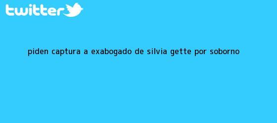 trinos de Piden captura a exabogado de <b>Silvia Gette</b> por soborno