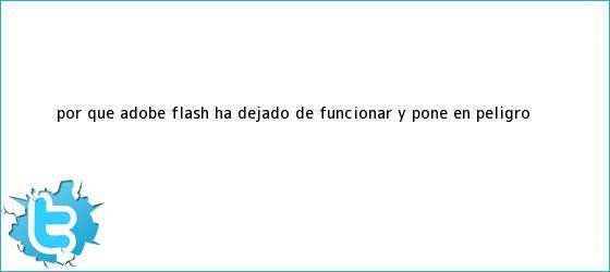 trinos de ¿Por qué <b>Adobe Flash</b> ha dejado de funcionar y pone en peligro <b>...</b>