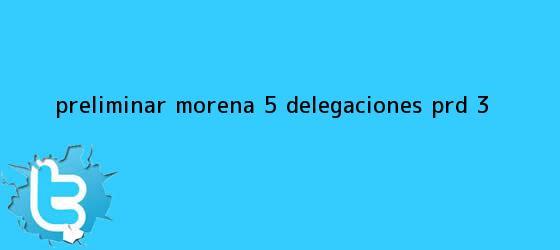 trinos de Preliminar: <b>Morena</b>, 5 delegaciones; PRD, 3