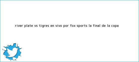 trinos de River Plate vs. Tigres en <b>vivo</b> por <b>Fox Sports</b> la final de la Copa <b>...</b>