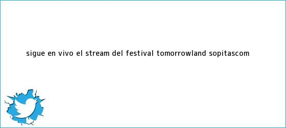 trinos de Sigue en vivo el stream del festival <b>Tomorrowland</b> | Sopitas.com