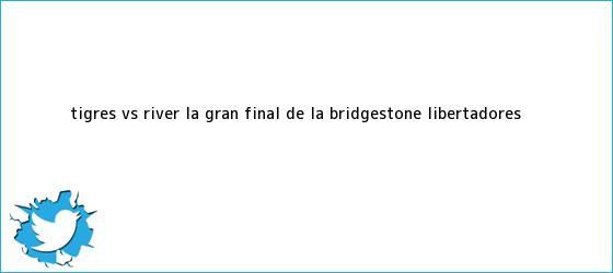 trinos de <b>Tigres vs</b> River, la Gran Final de la Bridgestone Libertadores <b>...</b>