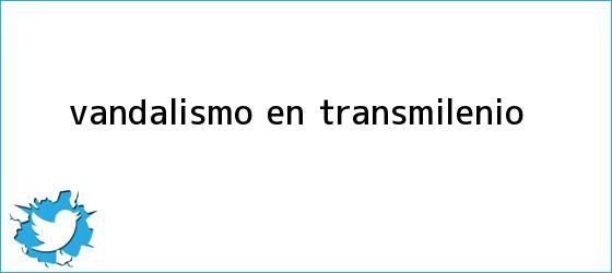 trinos de Vandalismo en <b>Transmilenio</b>