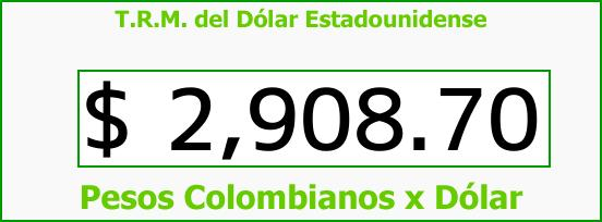 T.R.M. del Dólar para hoy Domingo 11 de Febrero de 2018