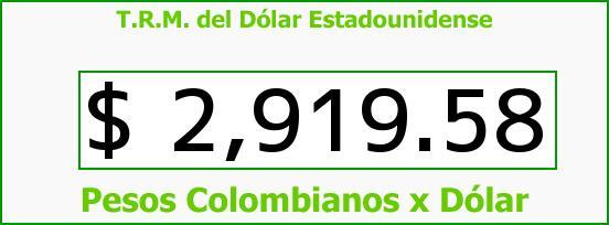 T.R.M. del Dólar para hoy Domingo 11 de Junio de 2017