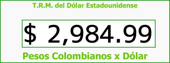 T.R.M. del Dólar para hoy Domingo 13 de Agosto de 2017