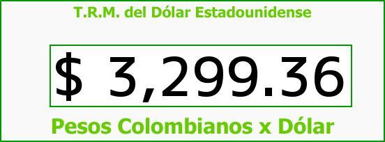 T.R.M. del Dólar para hoy Domingo 13 de Diciembre de 2015