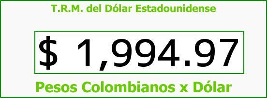 T.R.M. del Dólar para hoy Domingo 14 de Septiembre de 2014