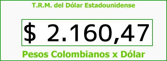 T.R.M. del Dólar para hoy Domingo 16 de Noviembre de 2014
