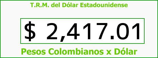 T.R.M. del Dólar para hoy Domingo 17 de Mayo de 2015