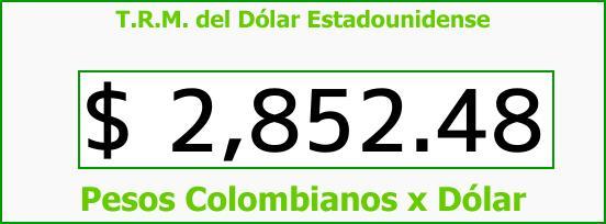 T.R.M. del Dólar para hoy Domingo 18 de Marzo de 2018
