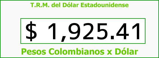 T.R.M. del Dólar para hoy Domingo 18 de Mayo de 2014