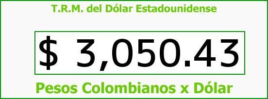 T.R.M. del Dólar para el Domingo 2 de Julio de 2017